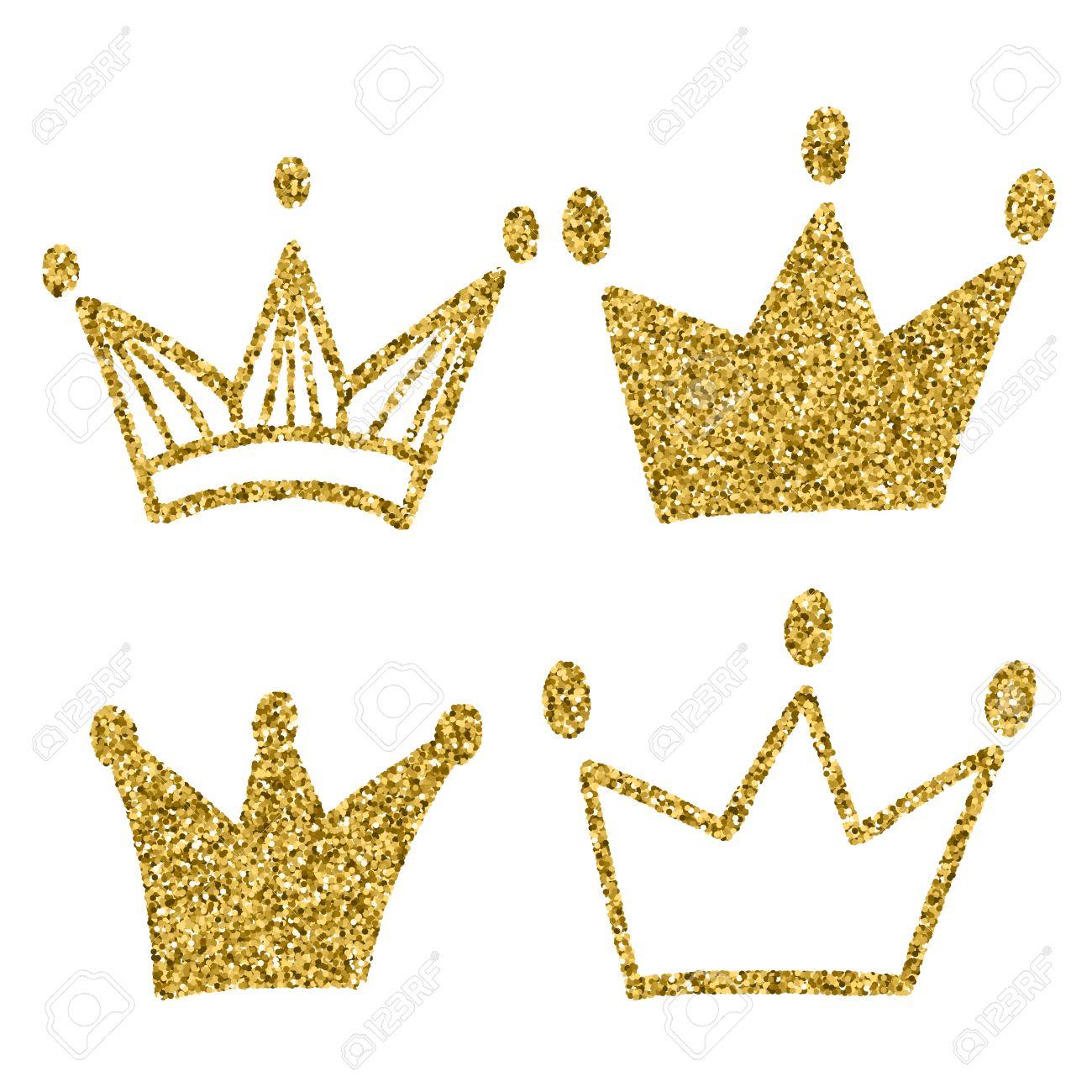 Conjunto Corona De Oro Aislado En El Fondo Blanco Escarcha Conjunto