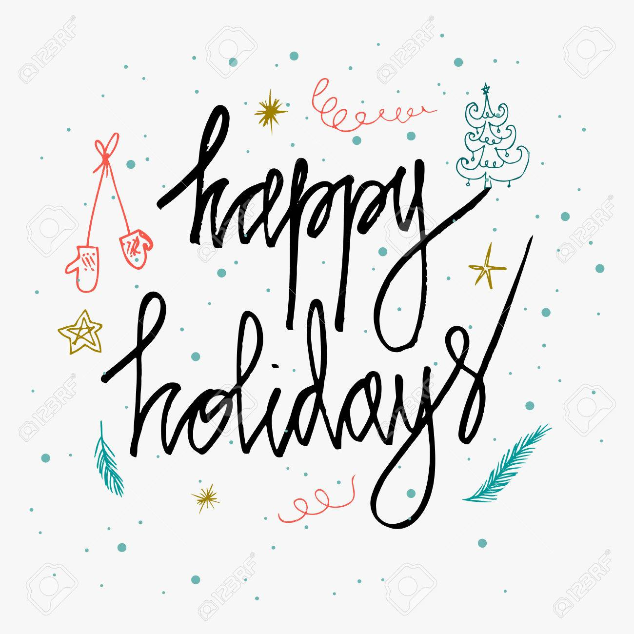 Happy holidays greetings lettering card isolated on white background happy holidays greetings lettering card isolated on white background holidays lettering for invitation and greeting m4hsunfo