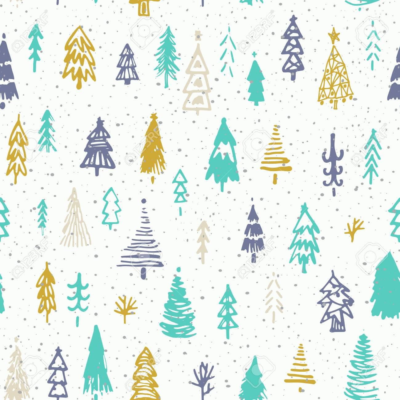 Seamless christmas background with cute christmas trees and falling..