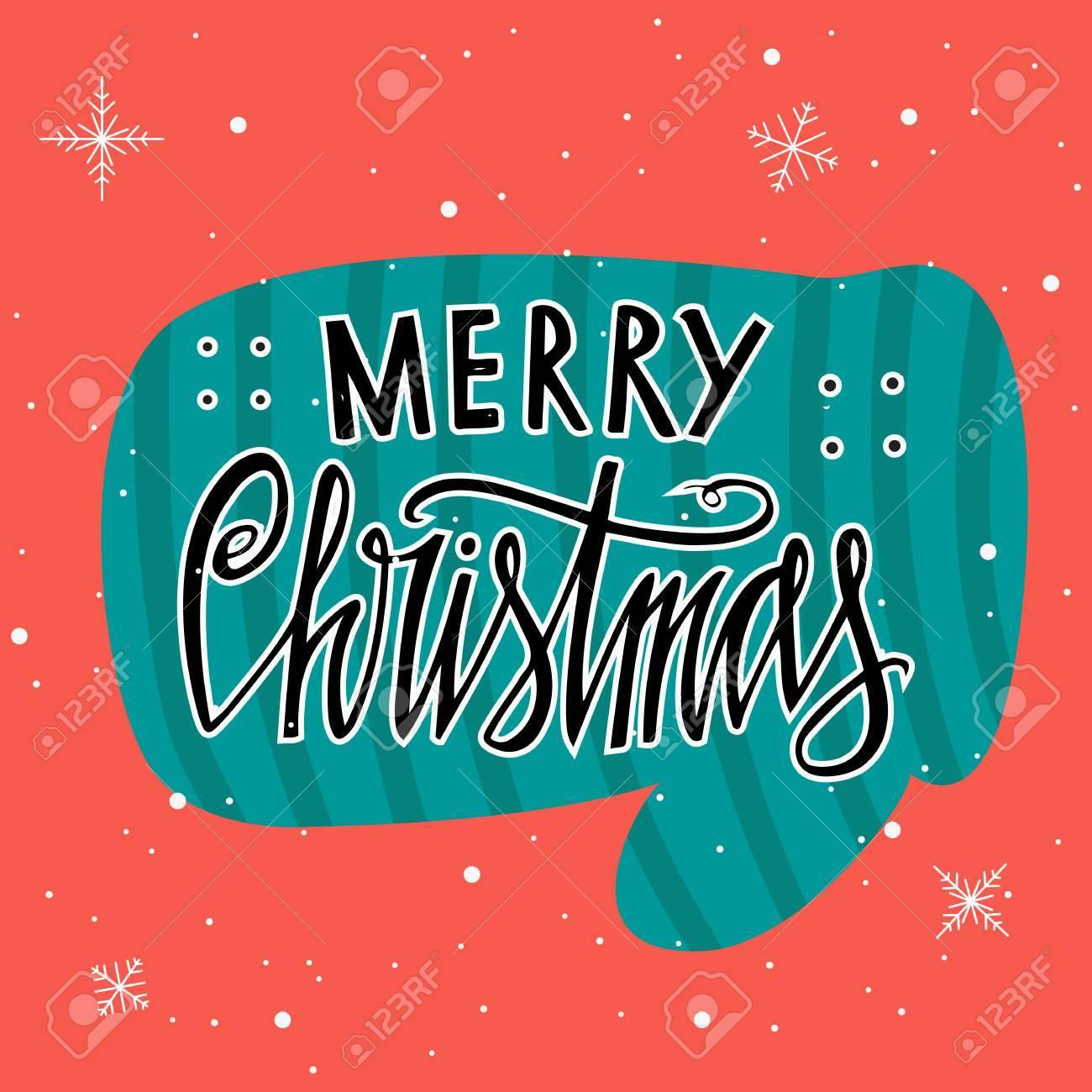 Feliz Natal Cartão De Natal Vintage Com Tipografia Luva E Floco De Neve Caligrafia Desejos Frases Perfeito Grande Elemento De Design Para Cartões