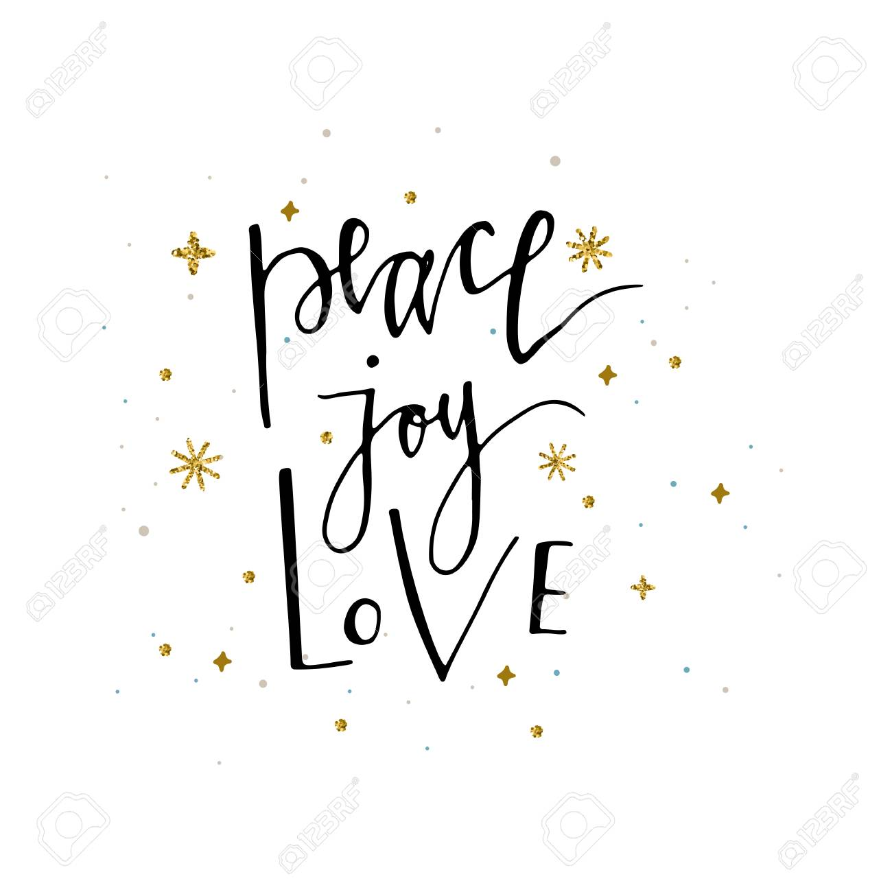 Peace Love Joy Quotes Love Peace Joy Text And Gold Glitter Snowflakes Holiday Greetings