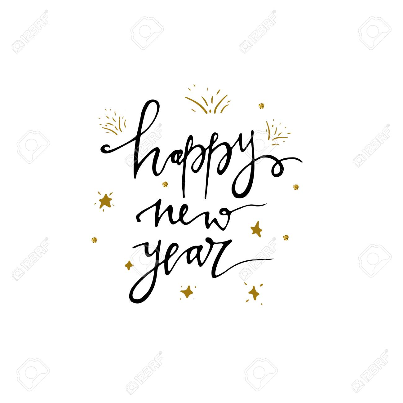happy new year postcard template modern lettering isolated on white background christmas card concept