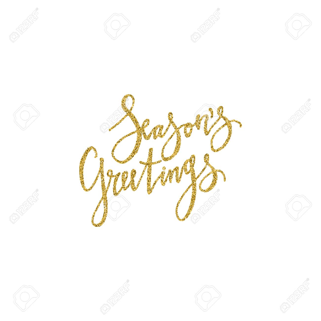 Seasons Greetings Lettering With Golden Glitter Texture Modern