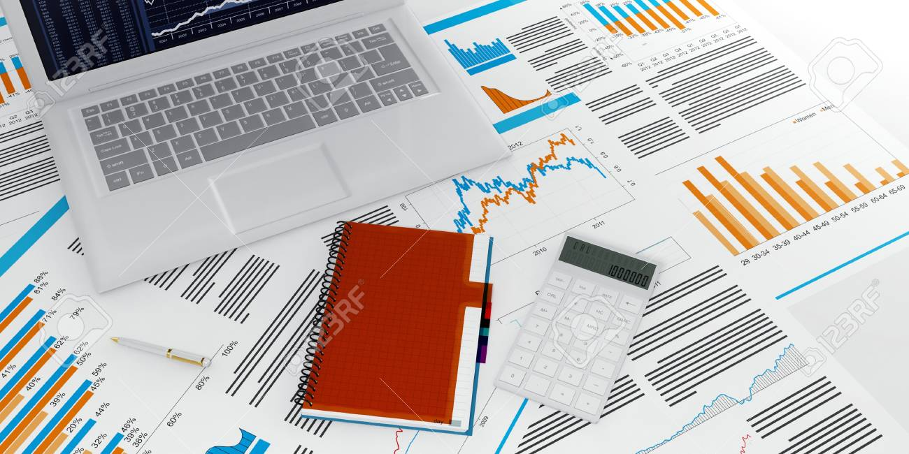 3d illustration of a business computer with a blank on a white background Stock Photo - 13925644