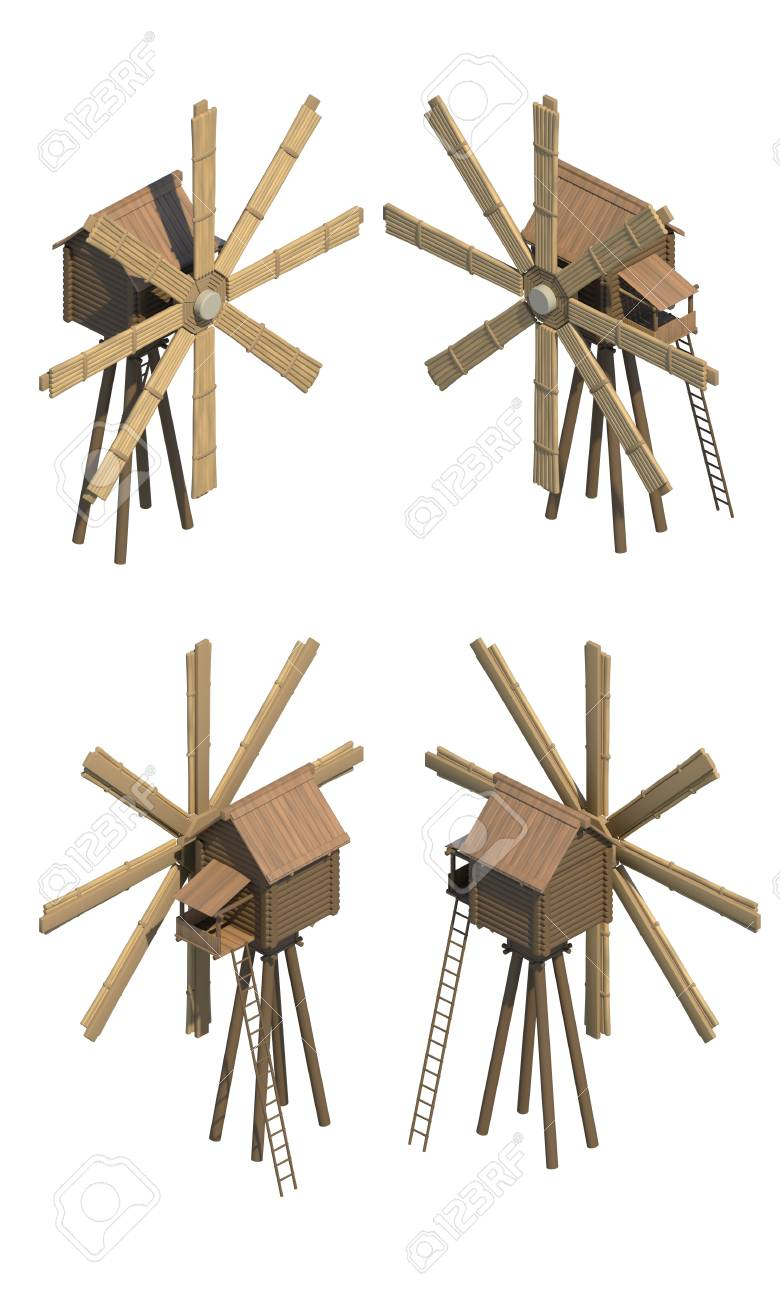 Work for game online: 3d a mill wooden in different foreshortenings Stock Photo - 13925631