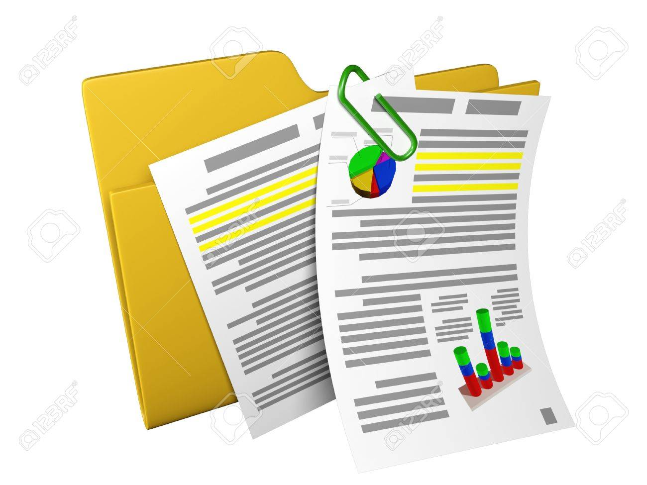 3d an illustration: a yellow folder with documents and schedules Stock Illustration - 13925147