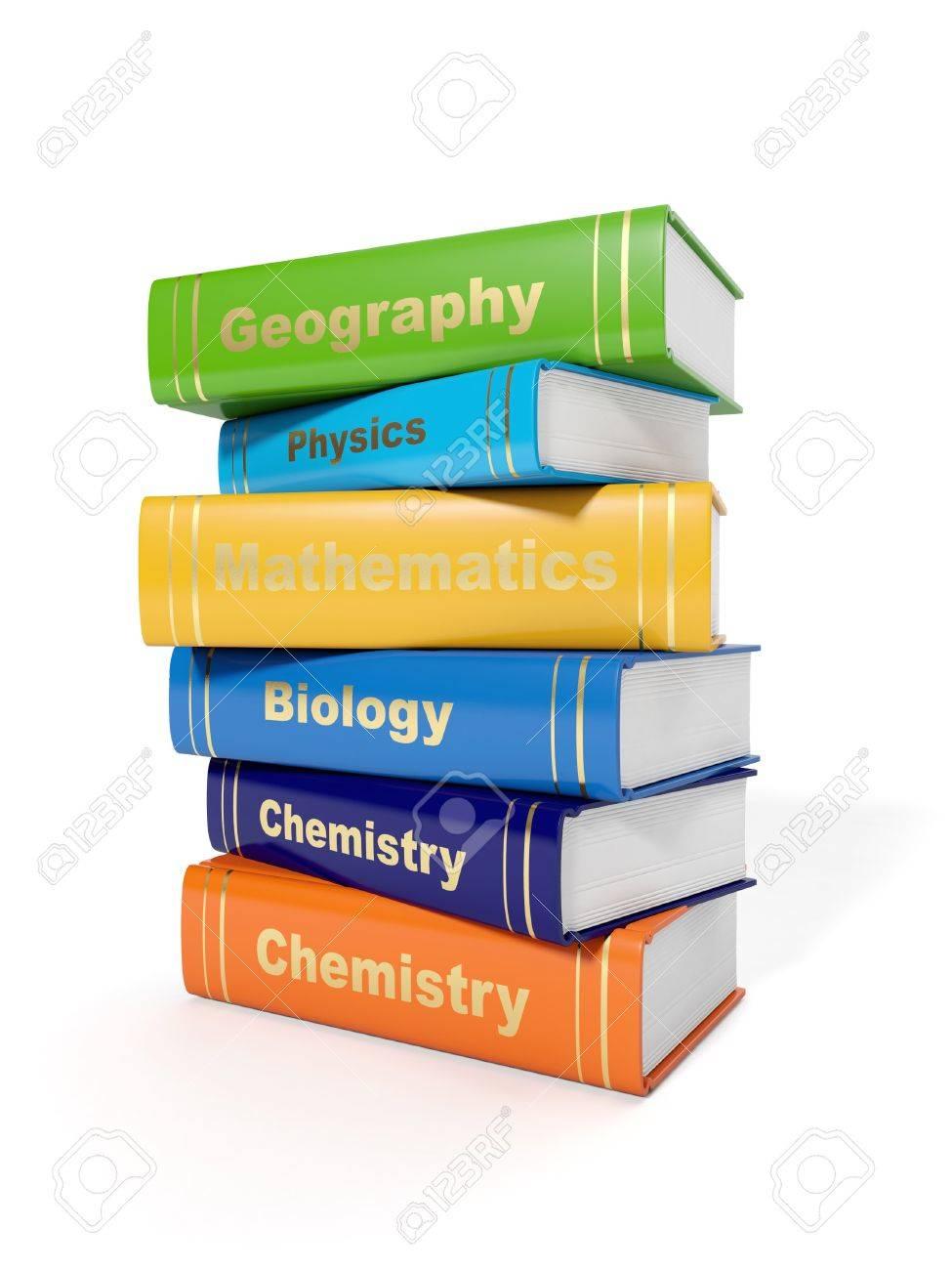 3 D イラスト 白い背景の上のセカンダリの学校教科書 の写真素材画像