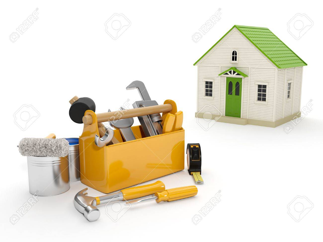 3d illustration: Repair and construction of the house. Tool box and a house in the background. The white background isolated Stock Illustration - 14728466