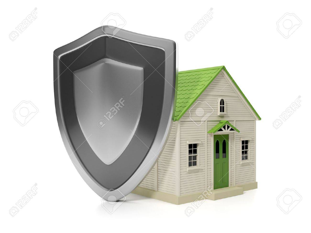 Shield House 3d illustration: housing estate. home insurance protection, a