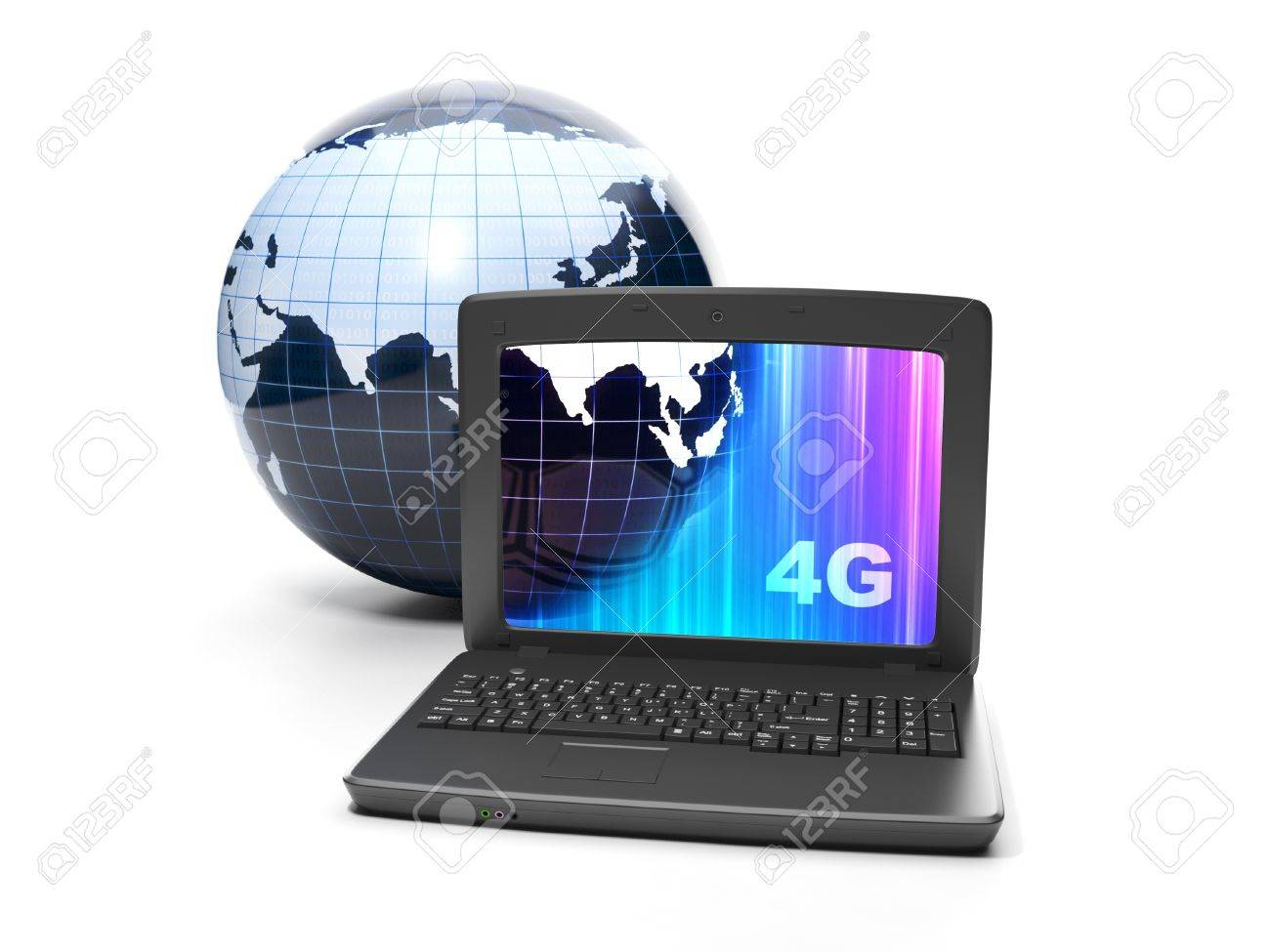 Internet technology. 4g internet connection speed. Earth and notebook close-up on white background Stock Photo - 17365543
