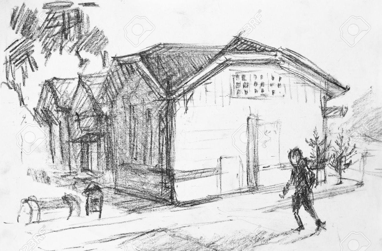 House on street pencil drawing on canvas stock photo 37127161