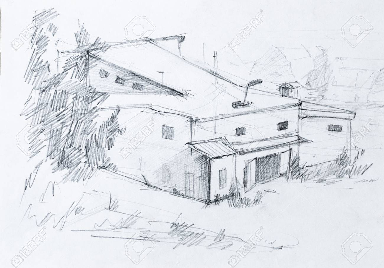 House in forest abstract pencil sketch stock photo 37233771