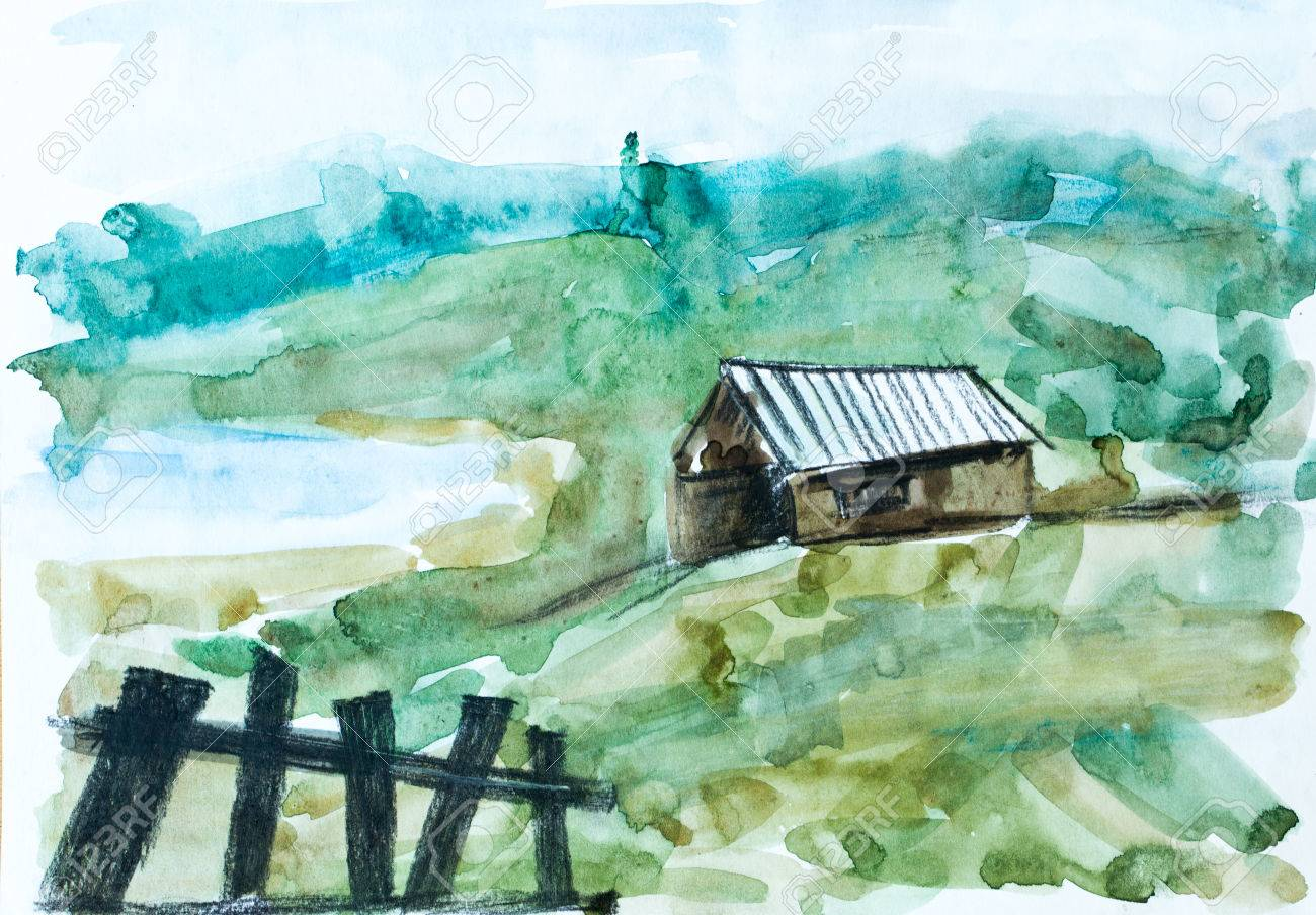 Vieille Maison Dans La Forêt Verte Peinture à Laquarelle Pour