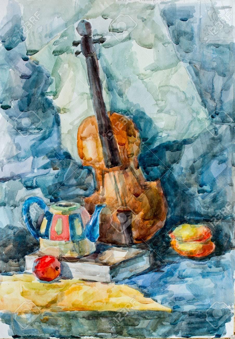 Violin Watercolor Drawing Stock Photo