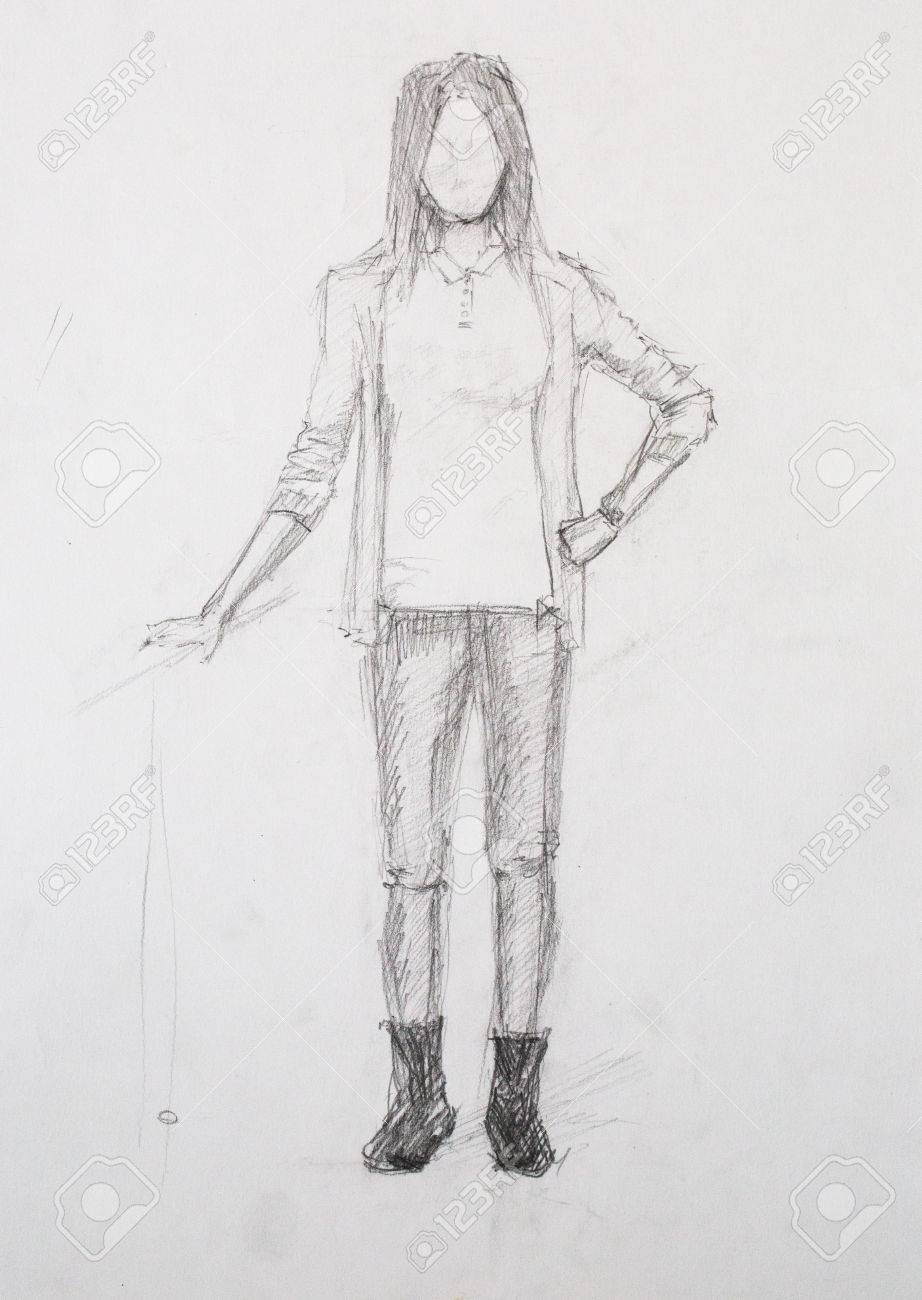 Sketch of girl pencil drawing stock photo 37963103