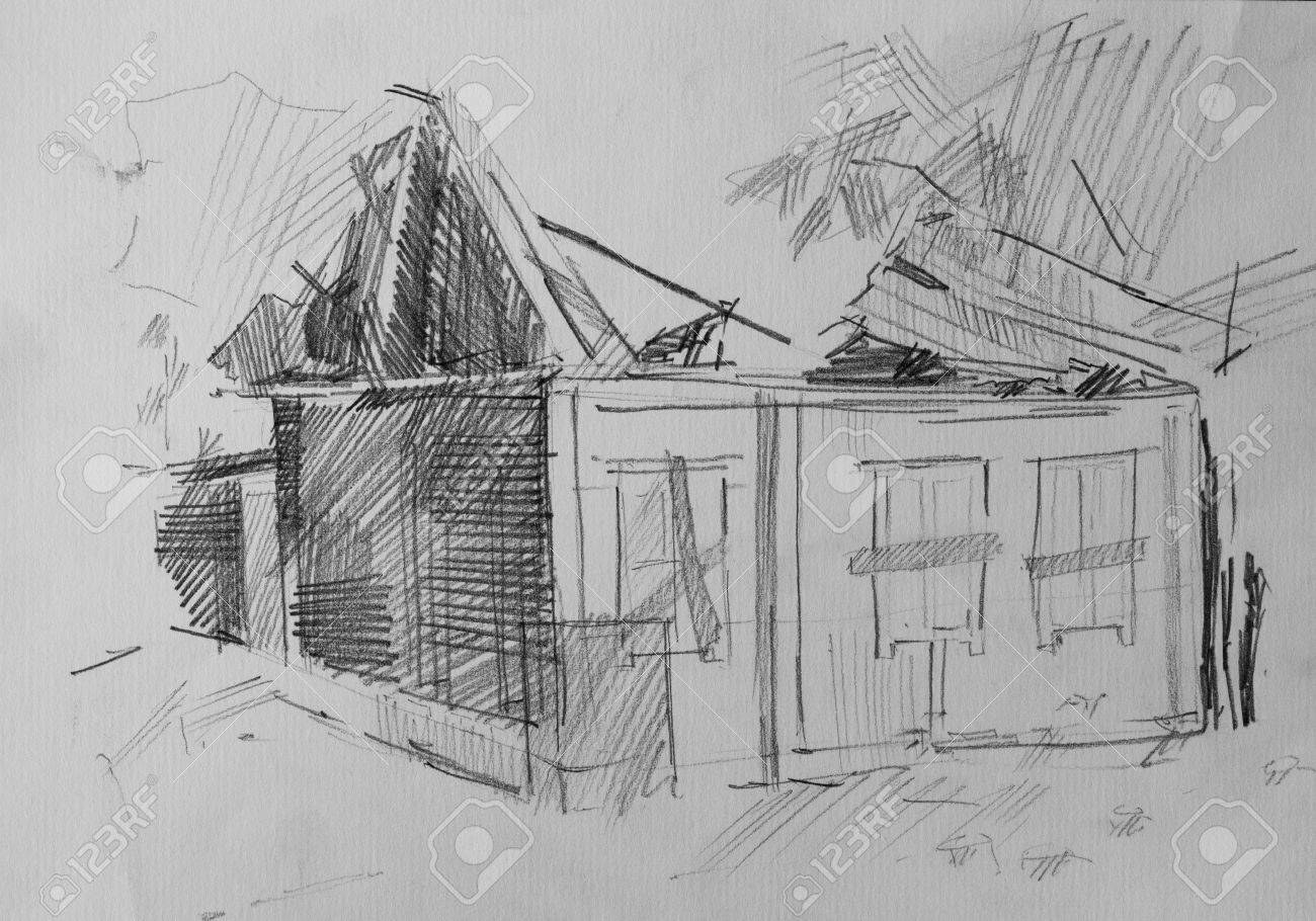 House after the fire pencil drawing