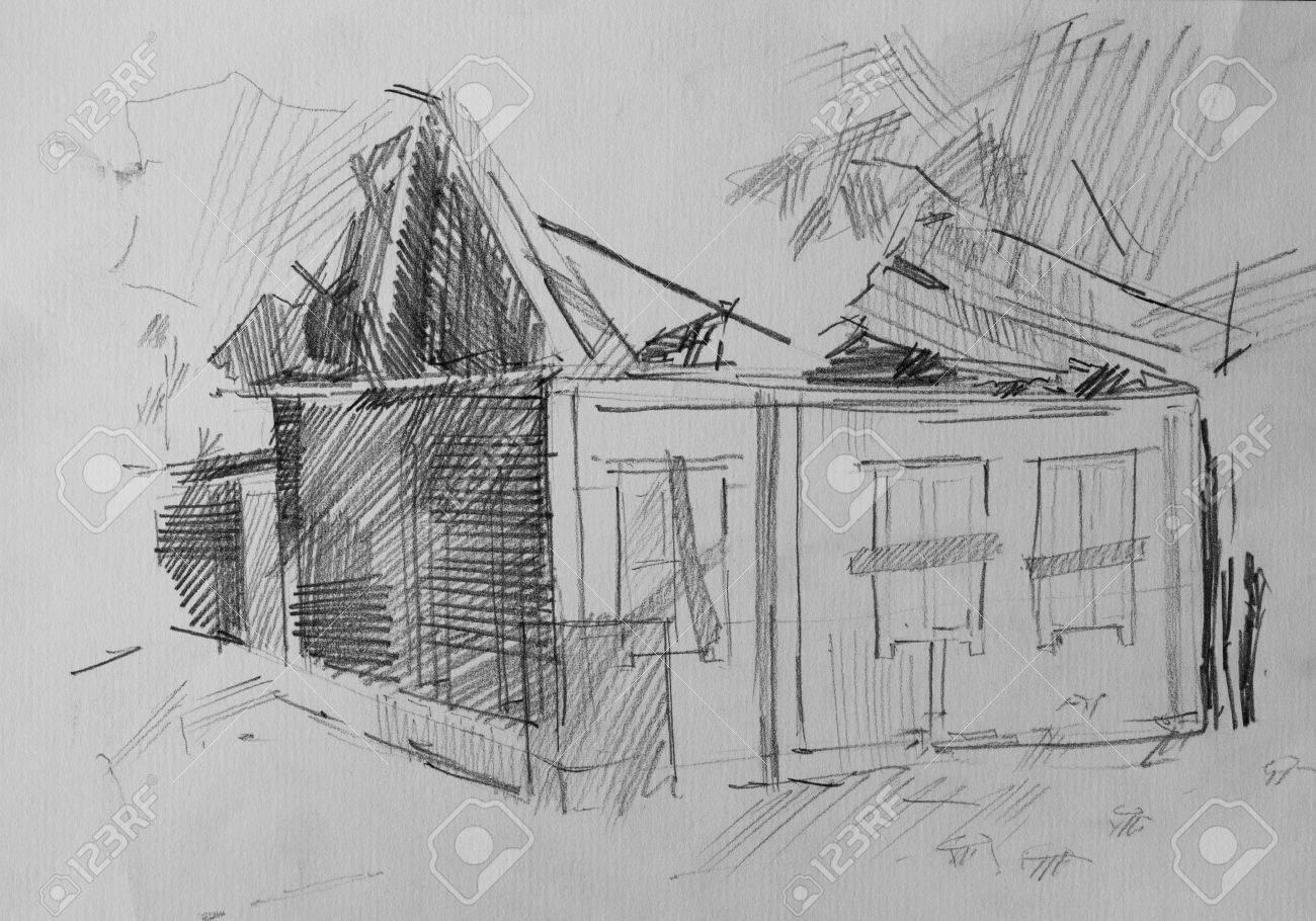 Maison En Ruine Dessin maison après le feu, dessin au crayon