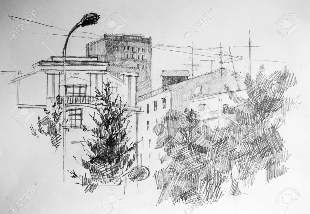 City pencil drawing on canvas