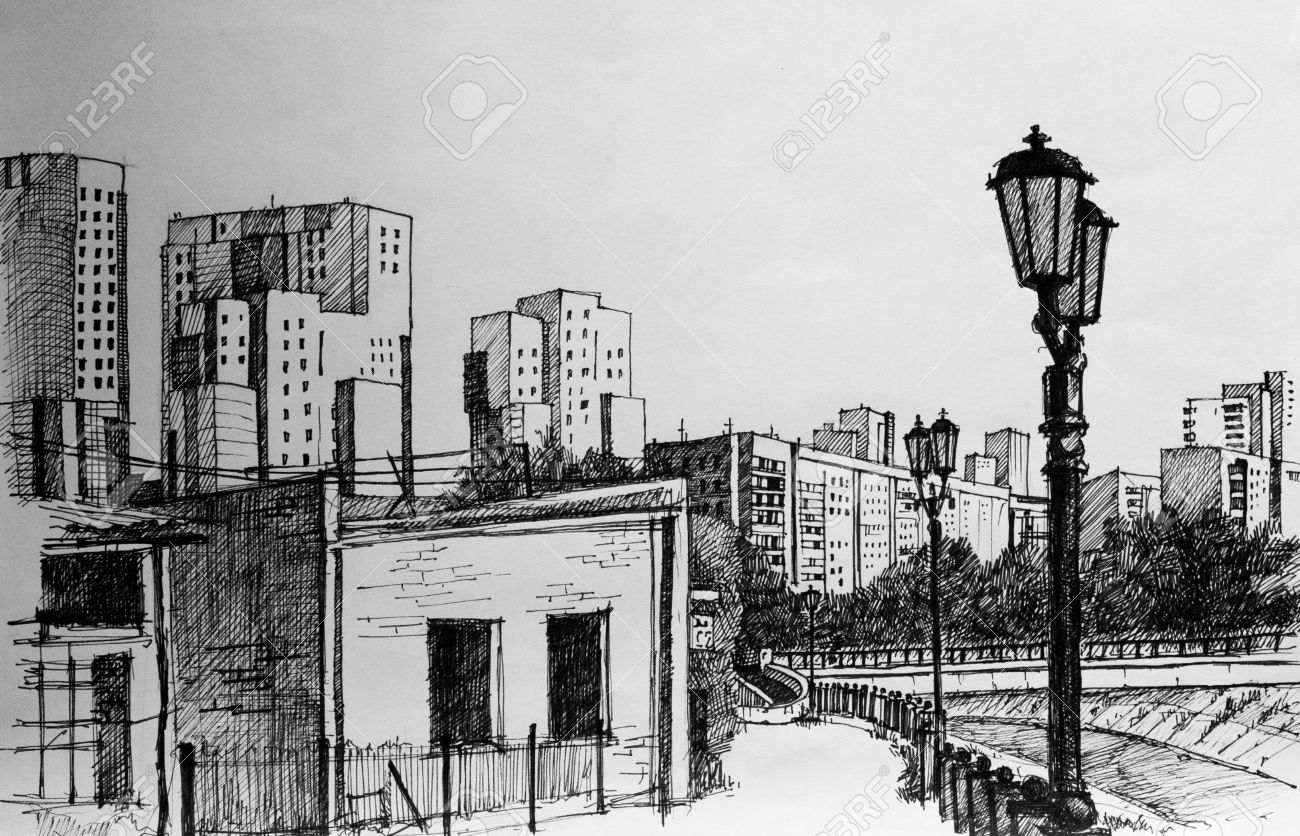 Street on city pencil drawing