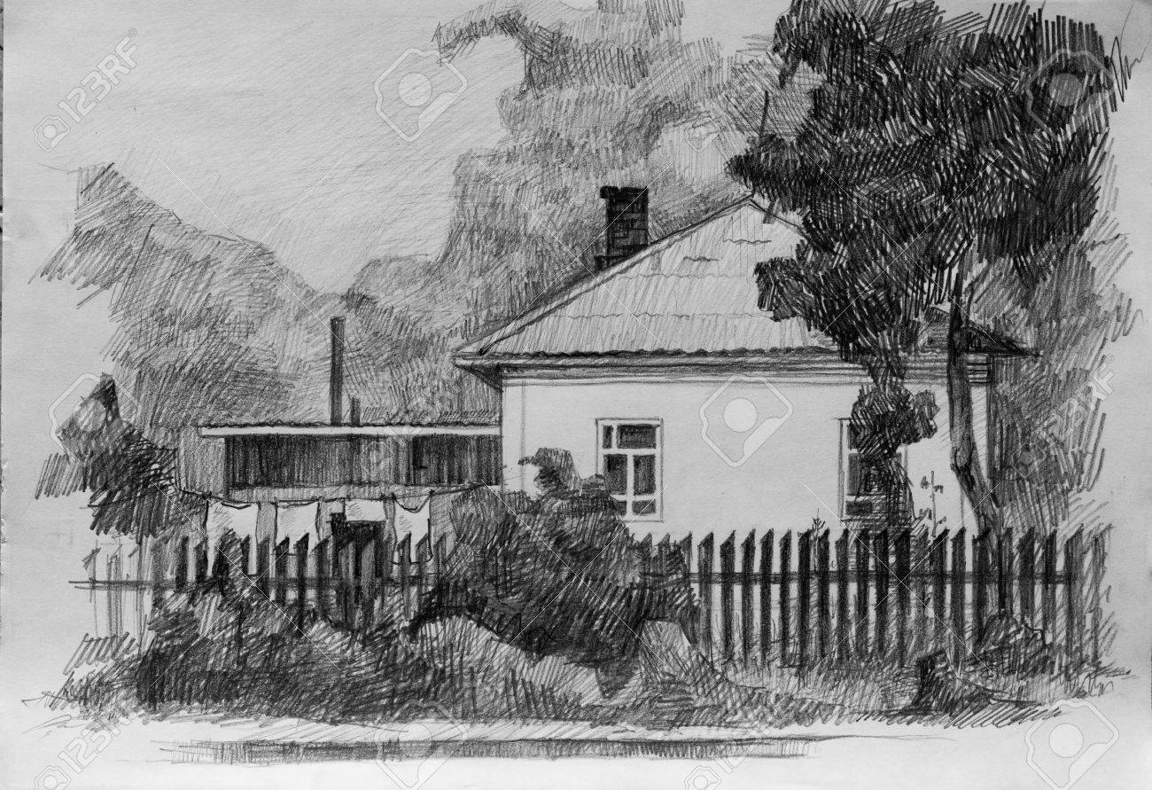 House in village pencil sketch stock photo 51628061