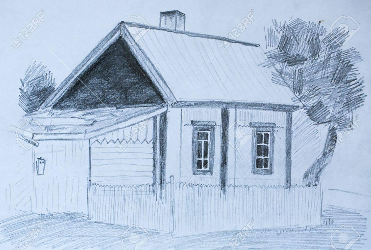 House in village pencil sketch