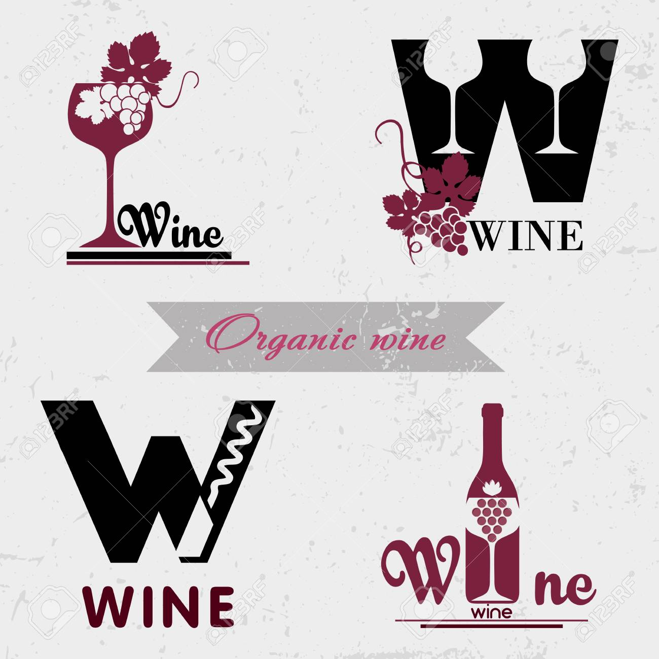 Set of badges and labels elements for wine  Quality logos in