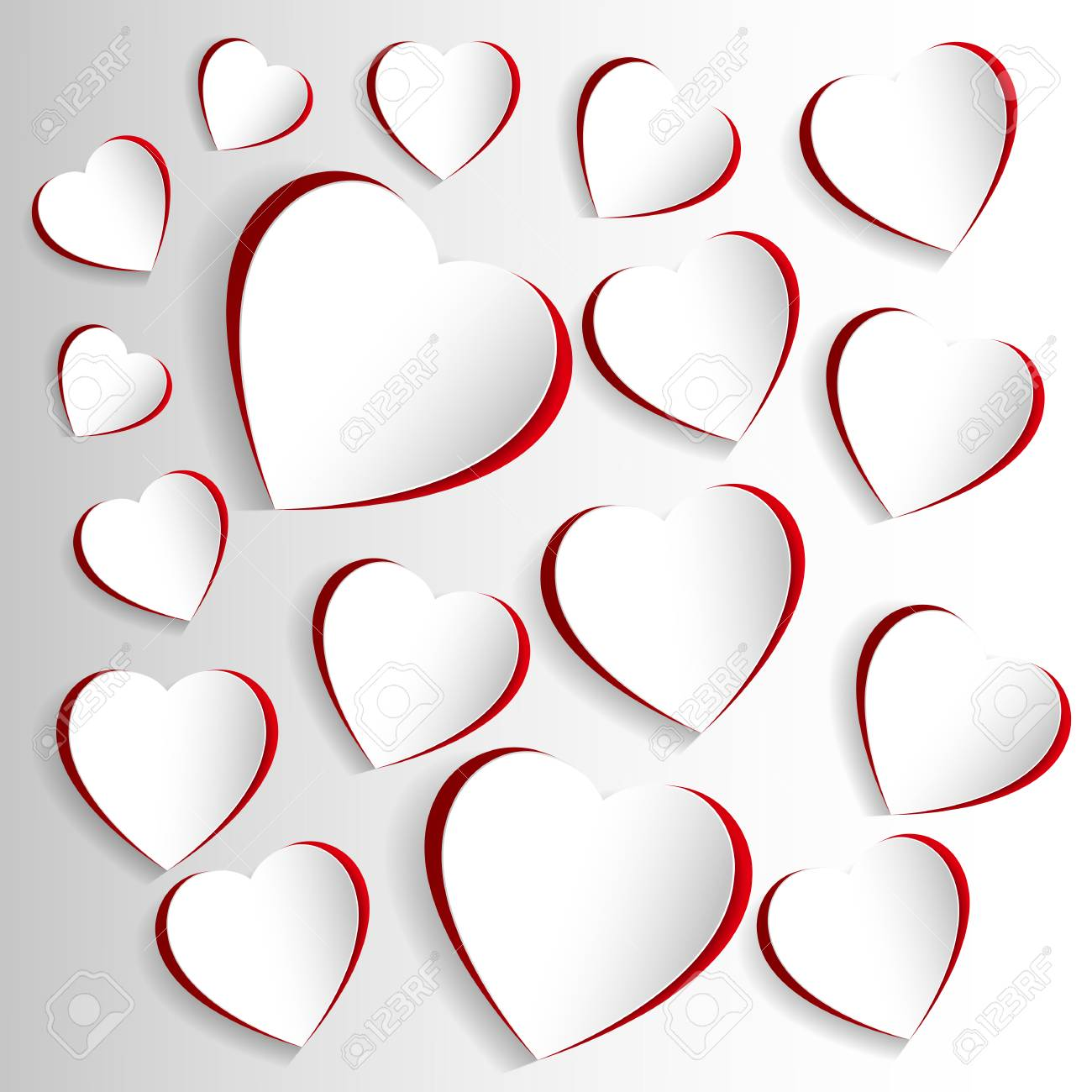 St valentine days greeting card with white and red hearts beautiful st valentine days greeting card with white and red hearts beautiful graphics for banners m4hsunfo