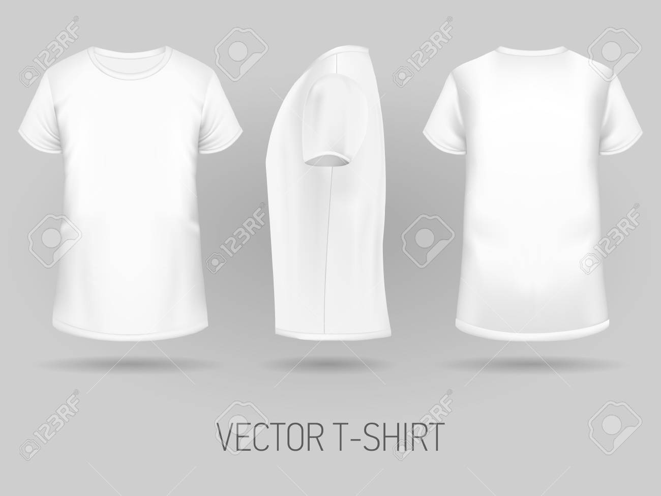 White T Shirt Template In Three Dimensions Front Side And Back