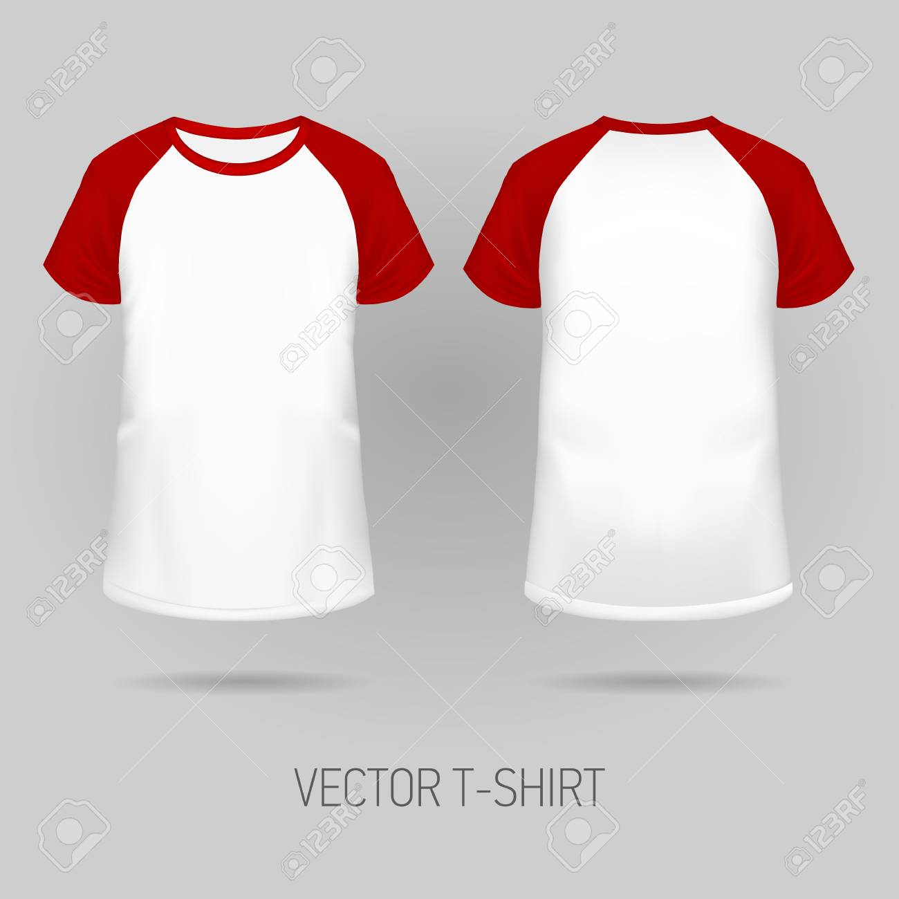 8b3d25e57f Raglan t-shirt with red short sleeve in front and back views, realistic  gradient