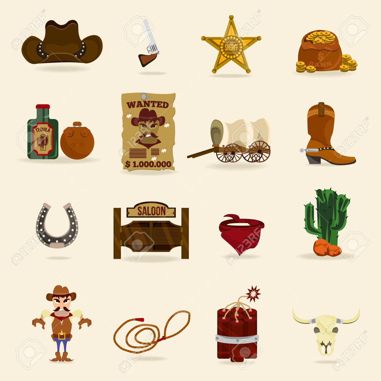 54b4e286796 Vector - Wild west cowboy objects and design elements with horseshoe