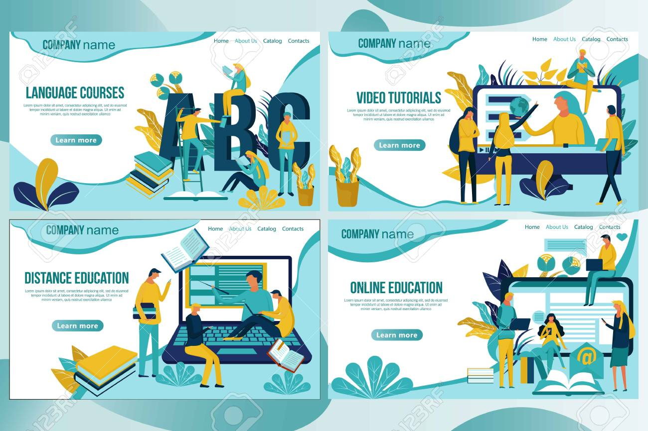 Web Page Design Template For Online Education Distance Courses Royalty Free Cliparts Vectors And Stock Illustration Image 115606176