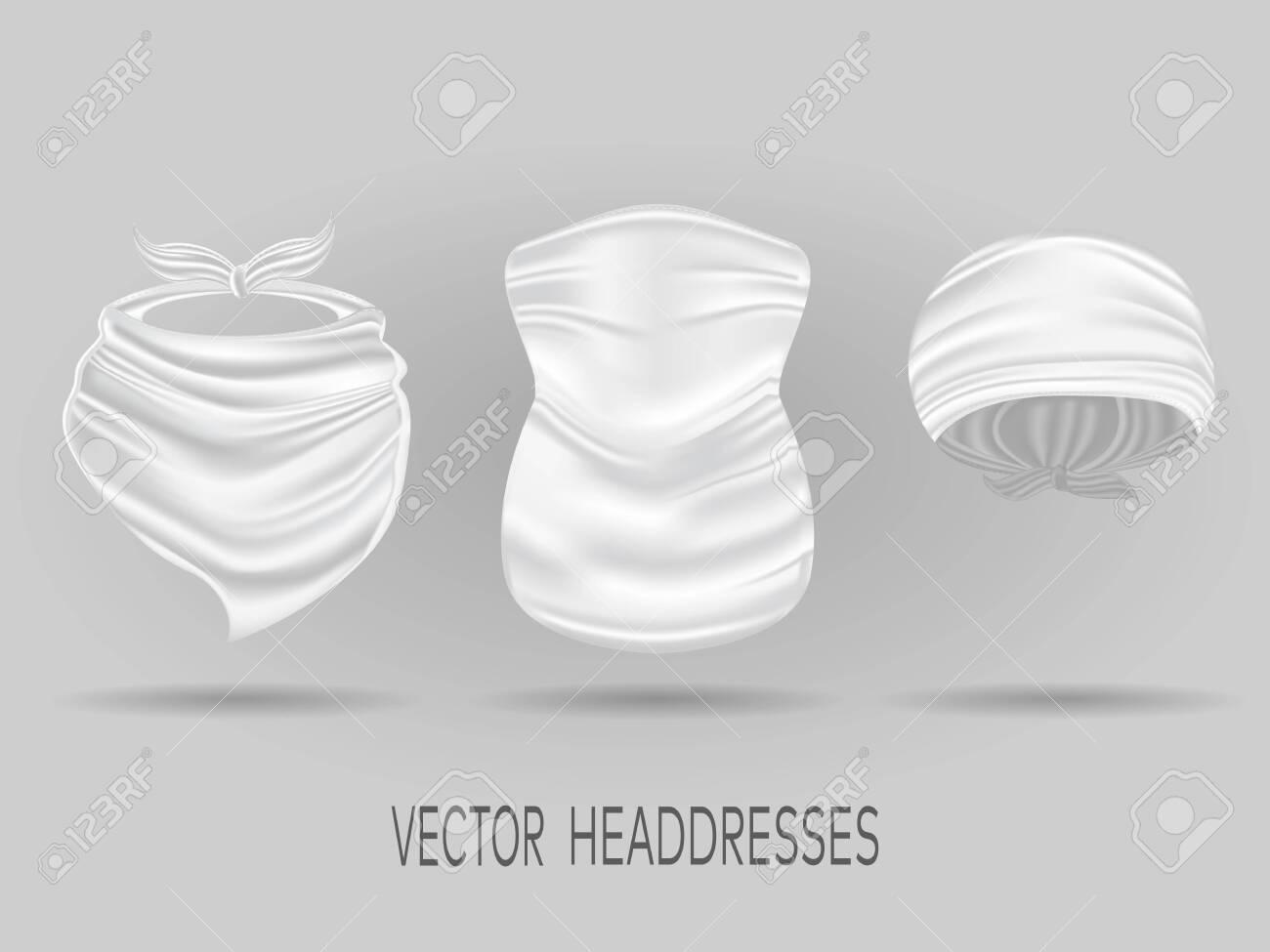 White head bandanas, neck scarf and buff  realistic vector mock