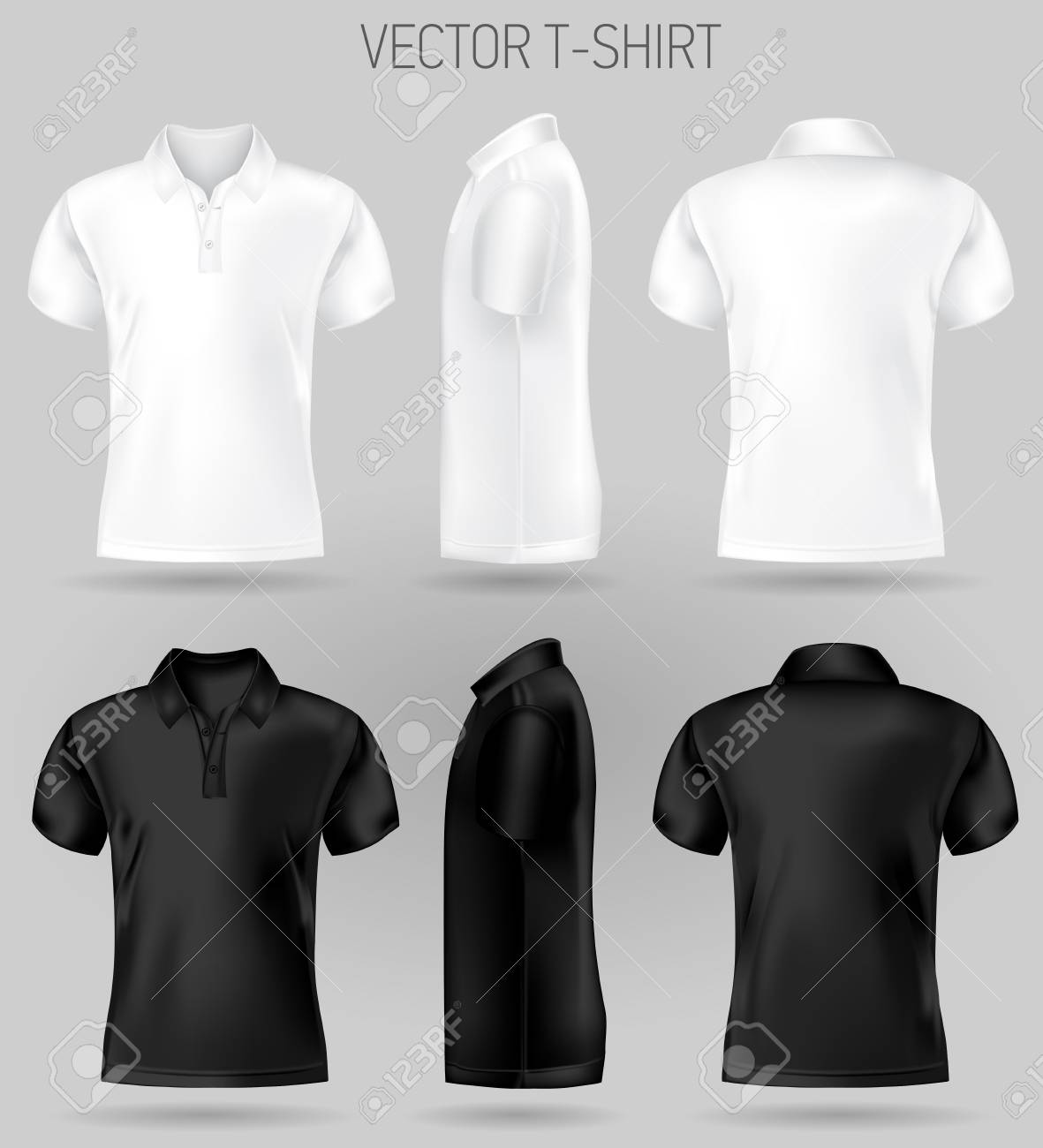 black and white short sleeve polo shirt design templates front, back, and side views . vector t-shirt mock up - 123120074