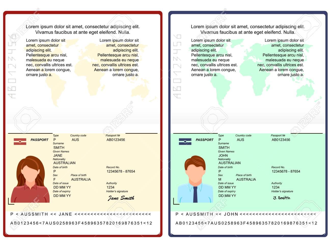 Vector Blank open international passport template. passport with sample personal data page. personal data page with woman photo and man photo . vector illustration - 132370273