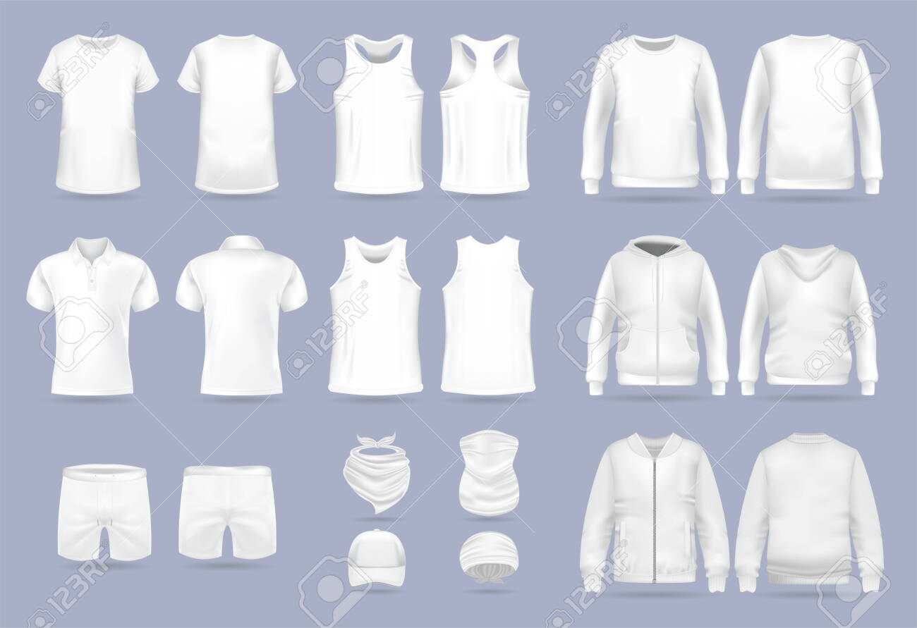 Blank white collection of mens clothing templates. T-shirt, hoodie, sweatshirt, short sleeve polo shirt, jacket bomber, head bandanas and cap, tank top, neck scarf and buff. Realistic vector mock up - 143159144