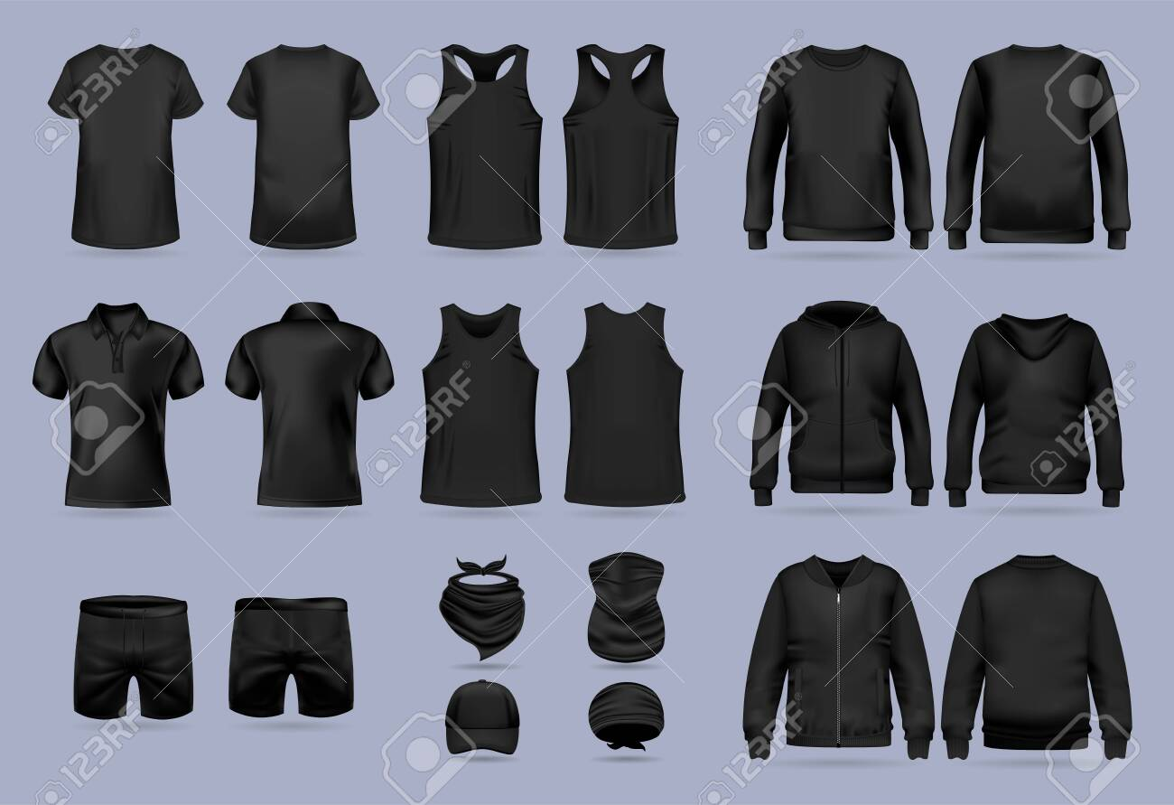 Blank black collection of mens clothing templates. T-shirt, hoodie, sweatshirt, short sleeve polo shirt, jacket bomber, head bandanas and cap, tank top, neck scarf and buff. Realistic vector mock up - 143159145