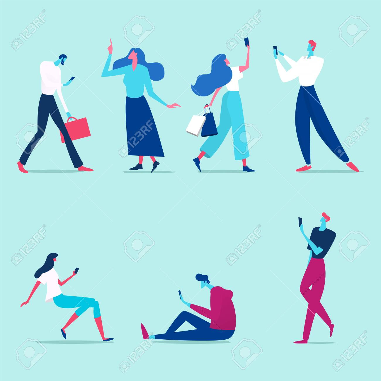 Group of male and female cartoon characters with mobile phones talking, listening to music, taking a selfie. Flat vector illustration - 142841366