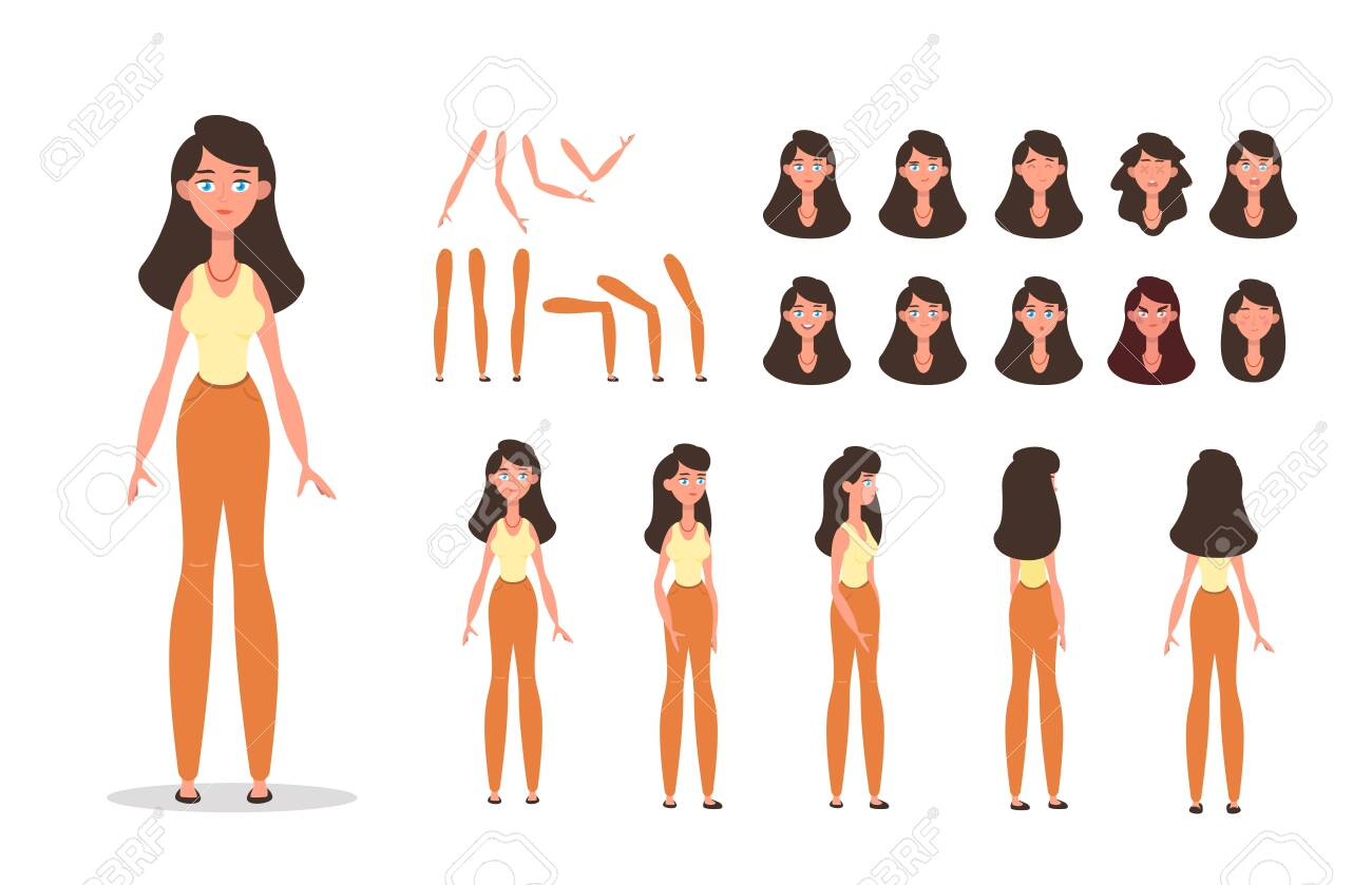 Woman character constructor for animation with various views, poses, gestures, hairstyles and emotions. Cartoon young woman, female parts of body ready to use poses. Vector illustration - 143018556