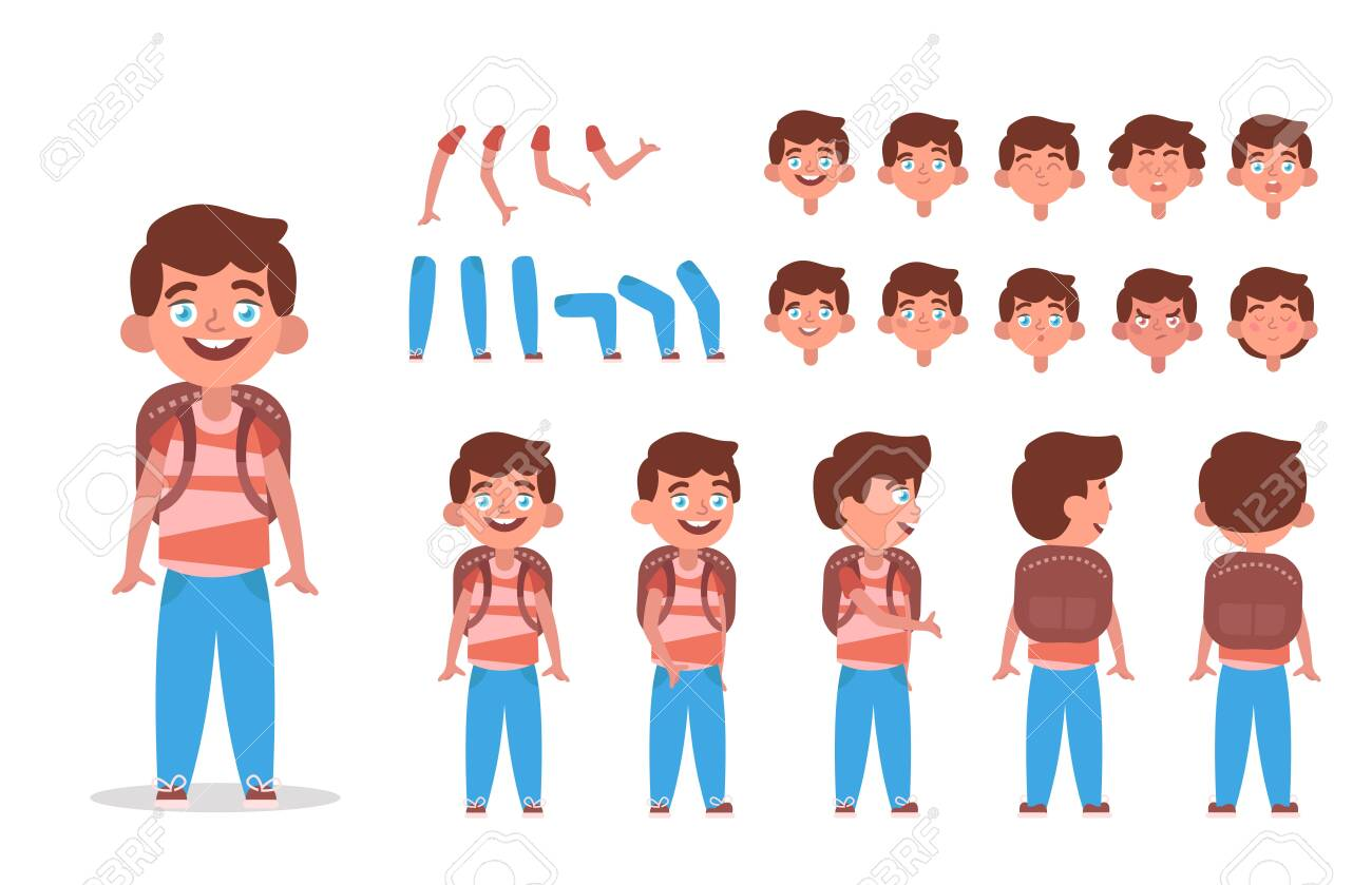 Little boy character constructor for animation with various views, poses, gestures, hairstyles and emotions. Cartoon Kid boy, children parts of body ready to use poses. Vector illustration - 143018567