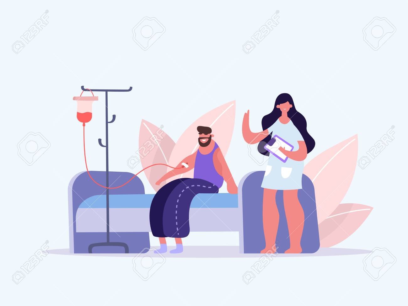 Volunteers in Medical Hospital Donating Blood. Man donate blood. World Blood Donor Day. Female nurse doing a blood test to a patient. Health Care. Vector illustration of a flat design - 143018572