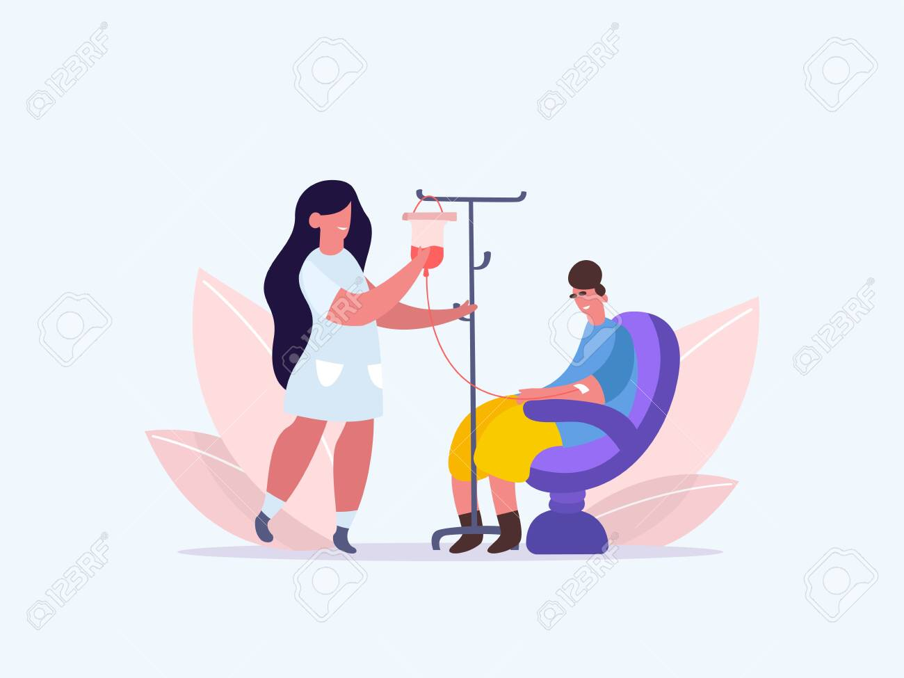 Volunteers in Medical Hospital Donating Blood. woman donate blood. World Blood Donor Day. Female nurse doing a blood test to a patient. Health Care. Vector illustration of a flat design - 143018624