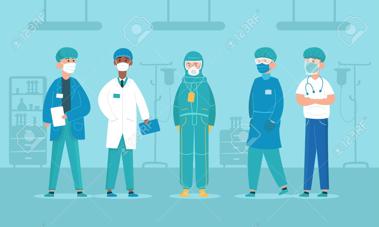 Professional doctors in protective suits, virus outbreak emergency concept. Doctor Characters. Corona virus, people wearing Personal Protective Equipment.Work safety. Flat Cartoon Style - 145121840