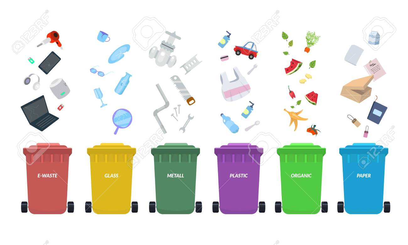 Waste bins. Rubbish bins for recycling different types of waste. Sort plastic, organic, e-waste, metal, glass, paper. Types baskets and garbage vector illustration - 144557107