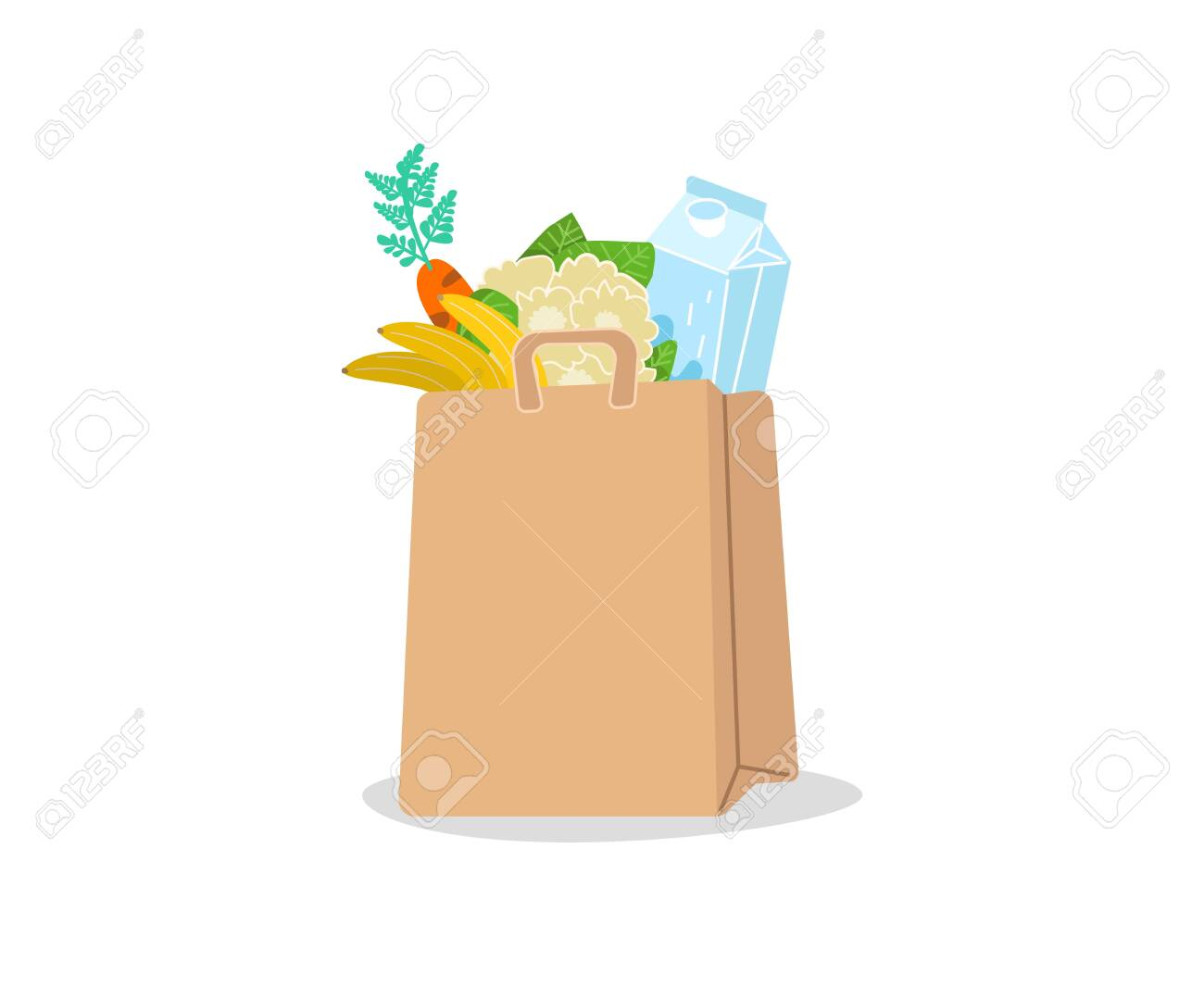 Shopping basket full of groceries products. Grocery store. Eco shopping bags and baskets with food. Vector supermarket illustration - 144558320