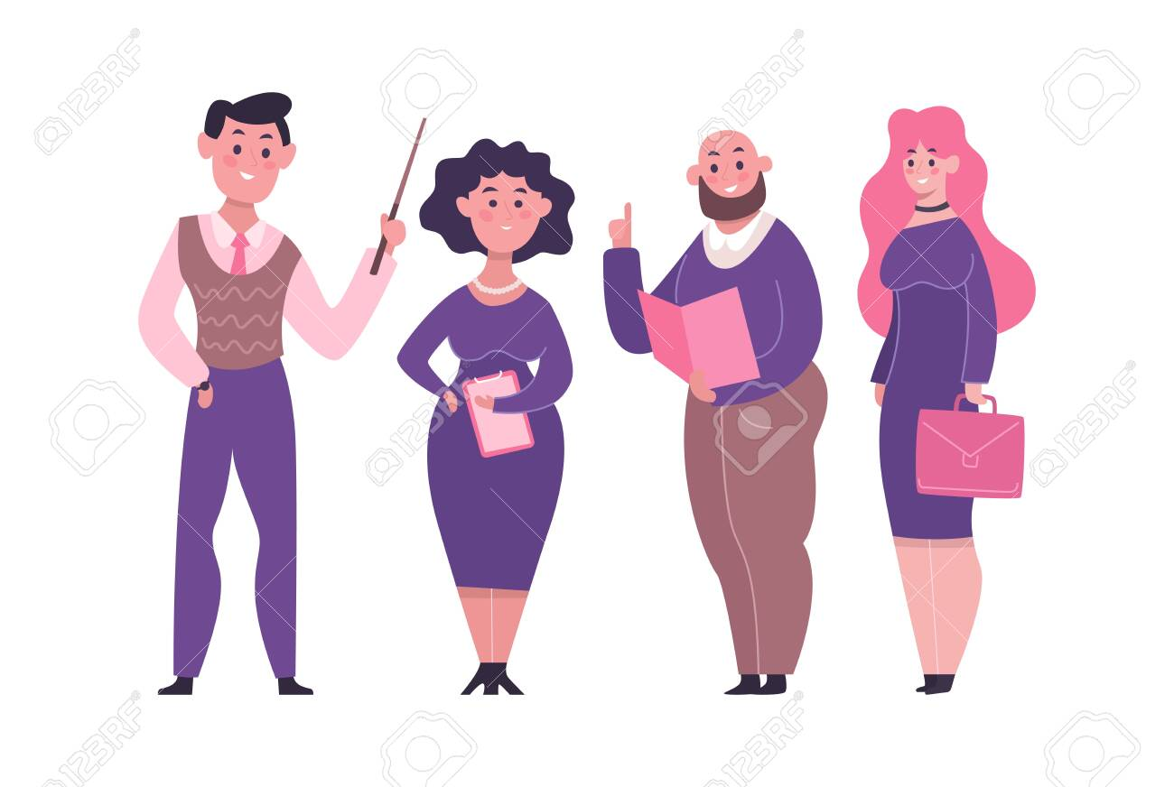 Set of teachers in different poses showing various gestures. Education cartoon template with different characters of male and female teachers. Vector illustration - 144558885
