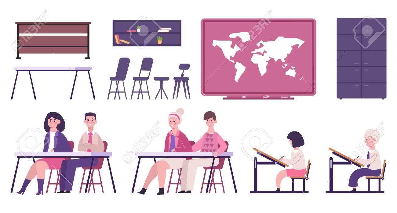 School or University furniture and learning materials whiteboard lesson pupils schoolchildren classroom accessories map bookshelf flat set vector illustration - 144558955