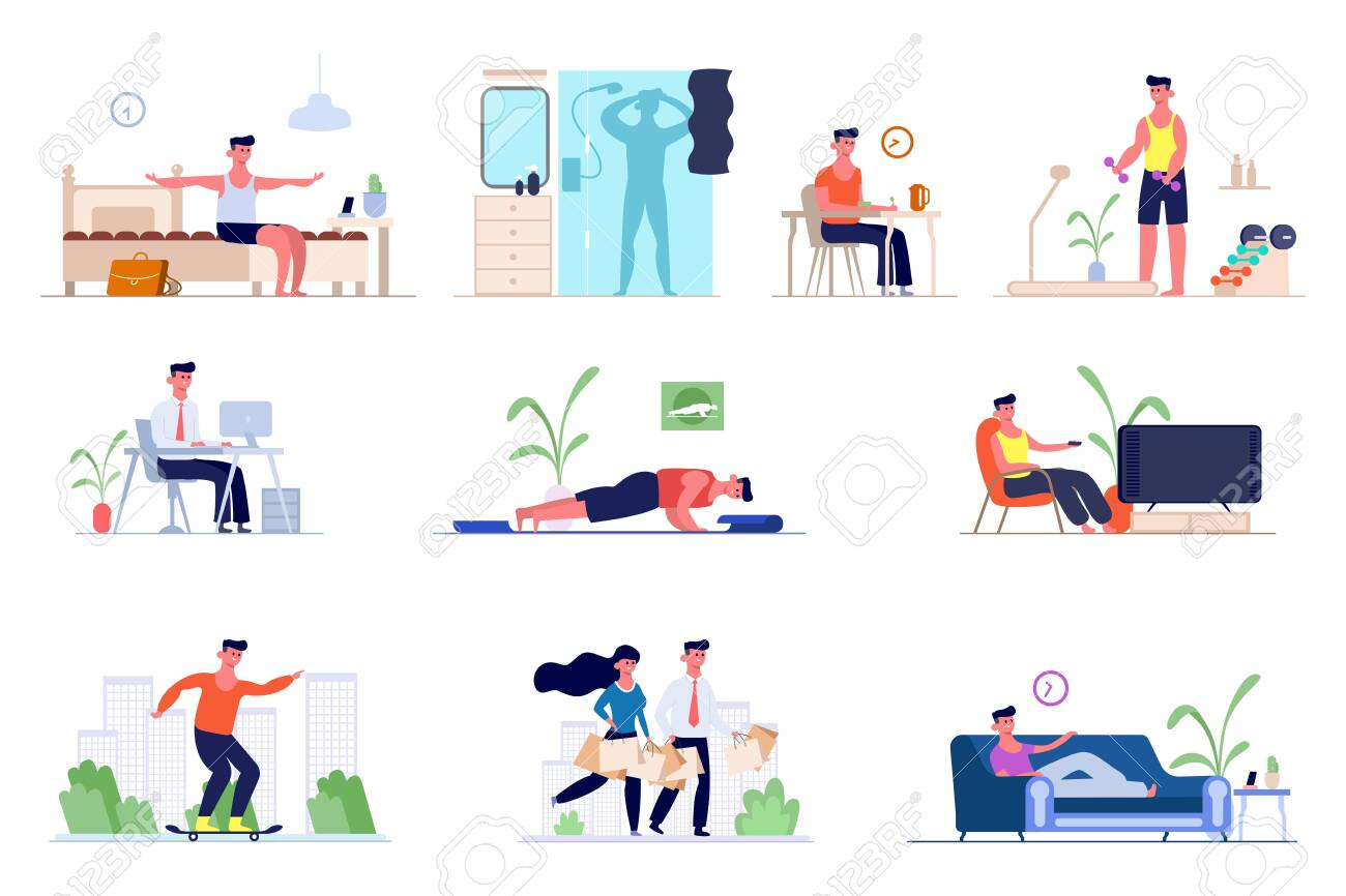 A set of daily routine men. Awakening in the morning, morning exercises, bathing in the shower, breakfast , office work, shopping, watching TV, skateboarding, sleeping. Vector graphics in flat style. - 146211254