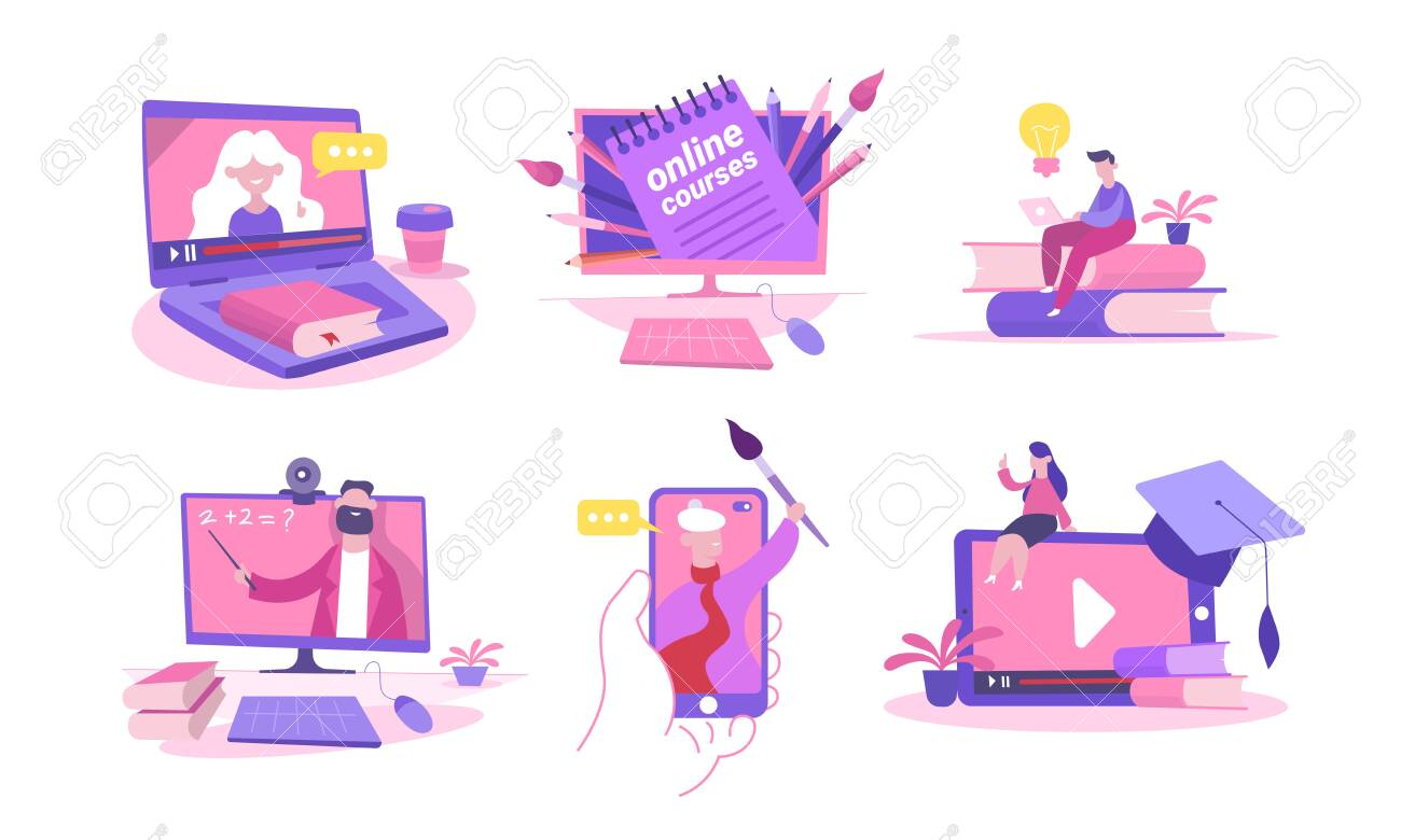 Online course set. Remote learning laptop smartphone with math digital video on-screen painting knowledge distance, remote webinar seminar, illustration online classes. Vector flat style. - 147219245