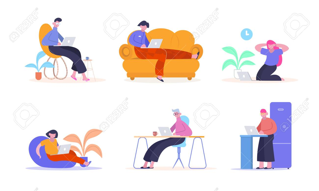 Work from home. People with laptops happily work remotely from home on couch chair ottoman creative color illustration professional freelancers online work. Vector flat style. - 147219246