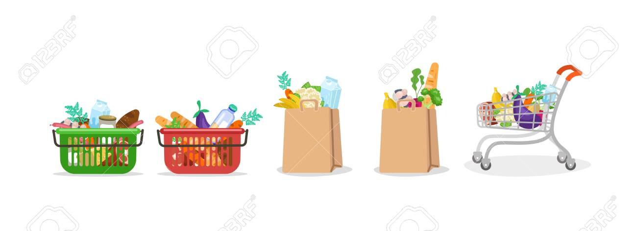 Food bag. Basket and paper bag with a grocery set from supermarket market bread milk vegetables fruits meat full trolley with healthy fresh food, online shopping illustration. Vector clipart graphic. - 146215198